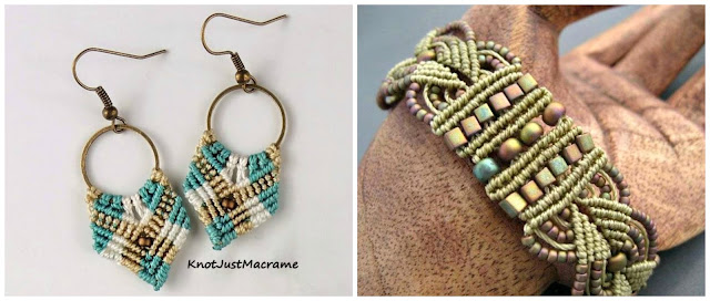 Gypsy earrings and Leaves micro macrame bracelet classes by Sherri Stokey.