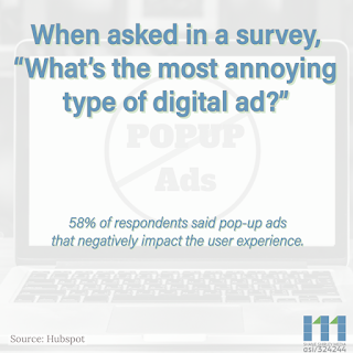 Out of the 302 people randomly surveyed, they found that 58% said that in fact, pop-up ads that disrupt their web experience were their least favorite type of ad.
