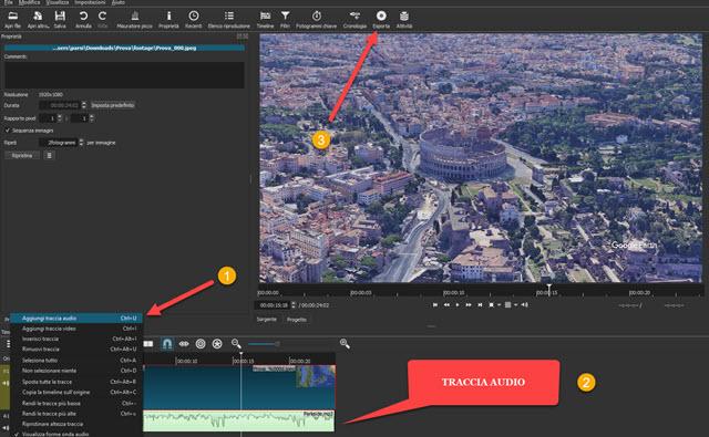 come aggiungere audio alla animazione di google earth studio