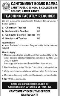 Cantonment Board (CB) Kamra Jobs 2020 Advertisement