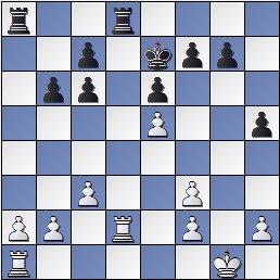Posición de la partida de ajedrez Benrstein contra Pomar, 1949, 19... Thd8