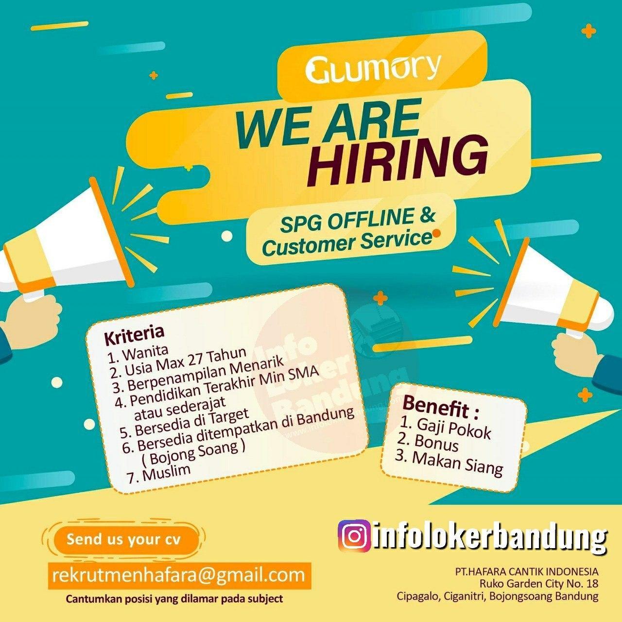 Lowongan Kerja SPG Offline & Customer Service Glomory Bandung Januari 2020