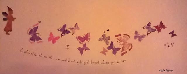 peinture murale papillons chambre fille