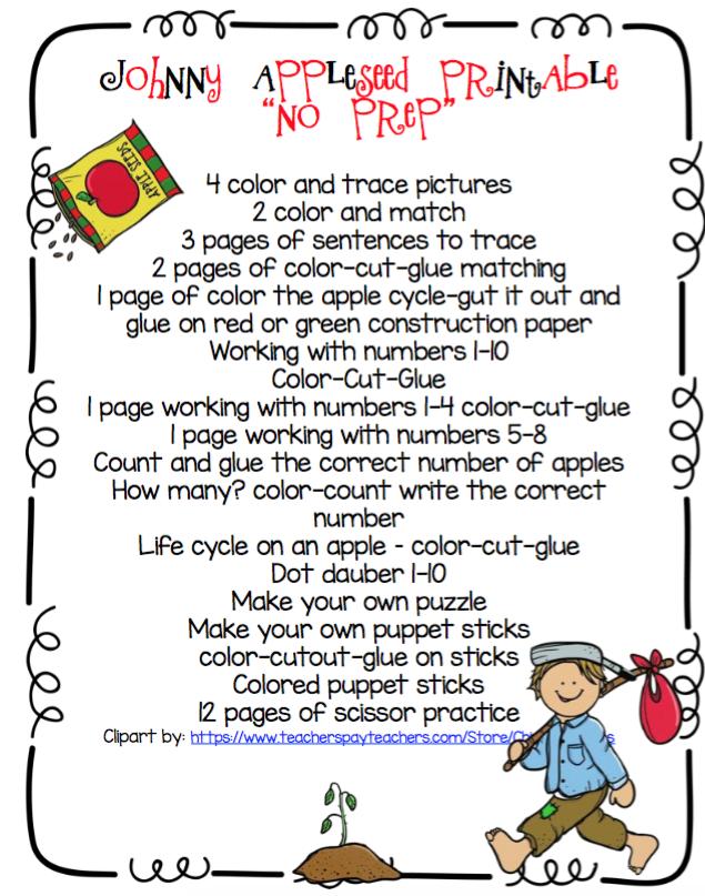 "Johnny Appleseed Printable ""No Prep"" ~ Preschool Printables"