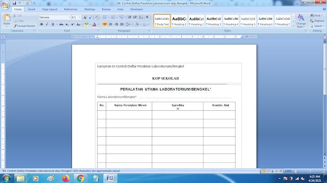 Contoh Format Daftar Peralatan Laboratorium/Bengkel Sekolah Terbaru