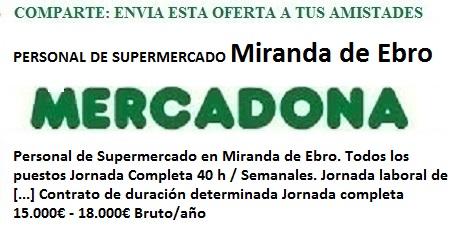 Miranda del Ebro, Burgos. Lanzadera de Empleo Virtual. Oferta Mercadona