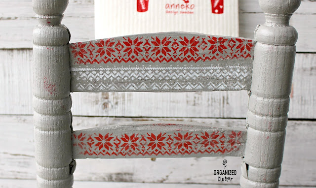 Rustic Barn Red Child's Chair Gets A Christmas Nordic Makeover #Nordicpattern #stencil #NordicChristmas #Christmasdecor