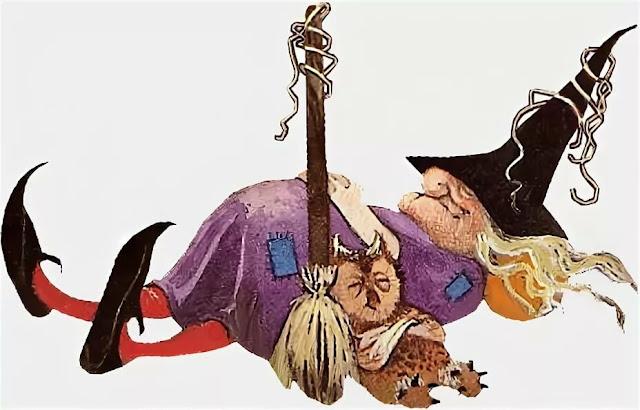 bruja fea acostada en el suelo descansando con escoba