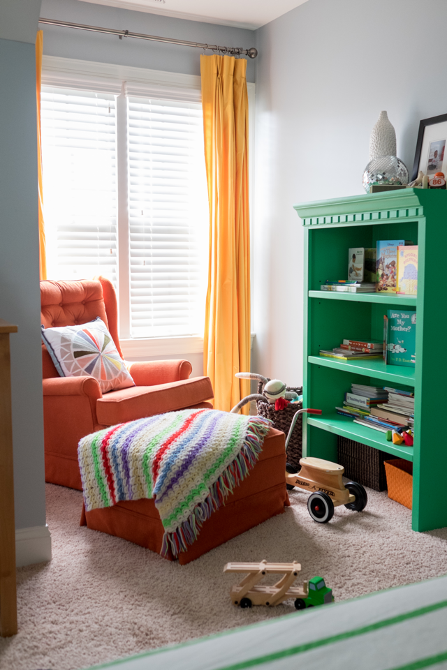 Colorful kid's room with repurposed thrifted furniture pieces.