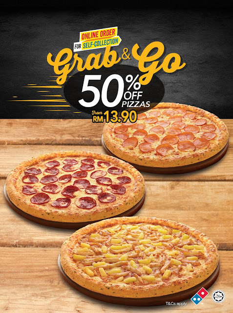 Domino's Pizza Malaysia Grab & Go Half Price Discount Offer Promo