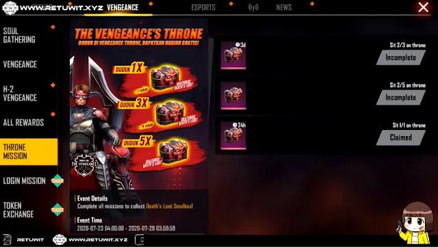 Event Throne Mission Vengeance Free Fire Duduk di Kursi Dapat Death Box
