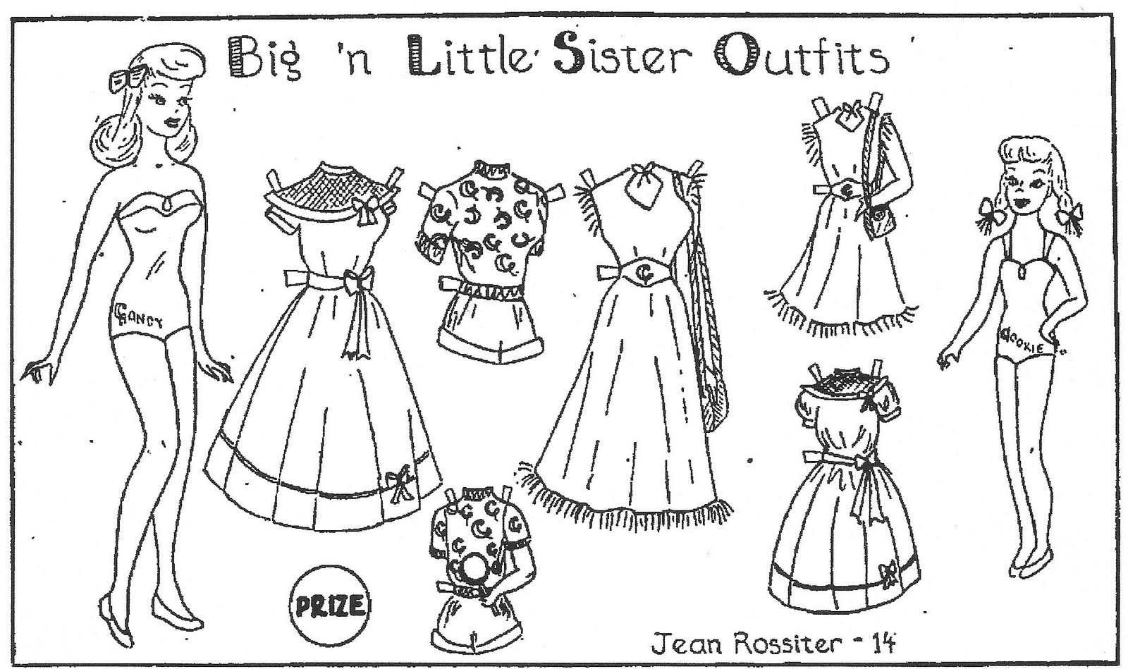 Mostly Paper Dolls Big N Little Sister Outfits