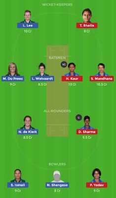IN-W vs SA-W dream11 team | SA-W vs IN-W