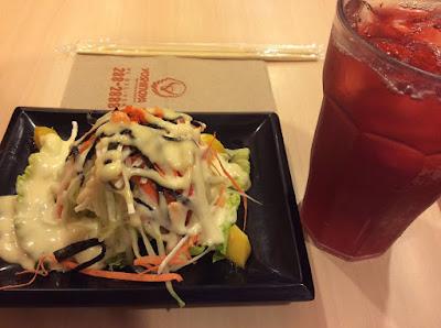 Yoshinoya Kani Salad, Php 69. Japanese dressing, lettuce, cucumber, carrots, mango, crabstick, seaweeds, tobiko (fish roe).