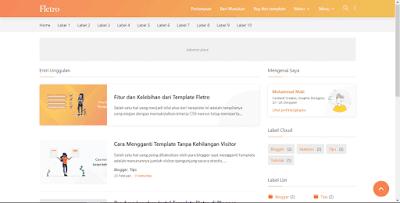 Tampilan Desktop Template Blogger Fletro Premium