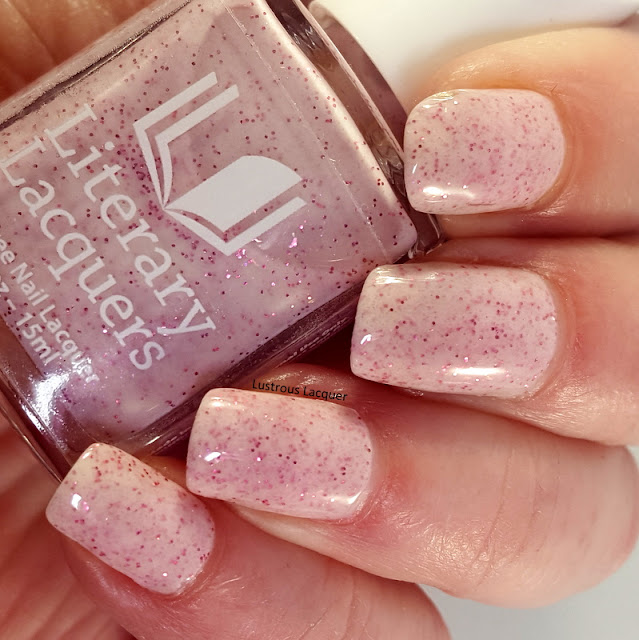 White matte nail polish with pink glitter and shimmer from the As You Wish Trio Valentines Collection 2018