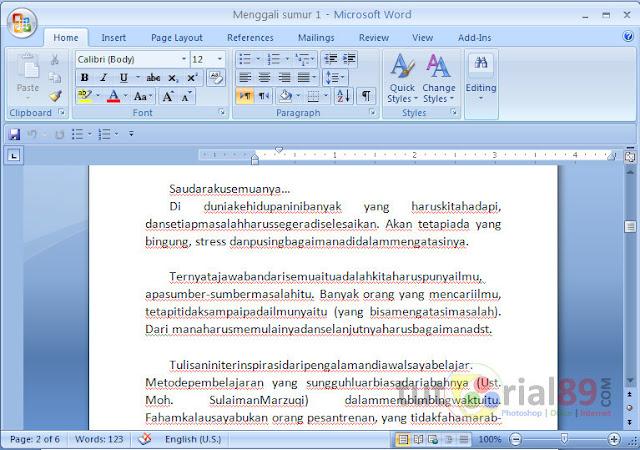 Microsoft sudah mengeluarkan updaten terbaru untuk Microsoft office nya Cara mengatasi space acak-acakan dari word 2013 ke word 2007