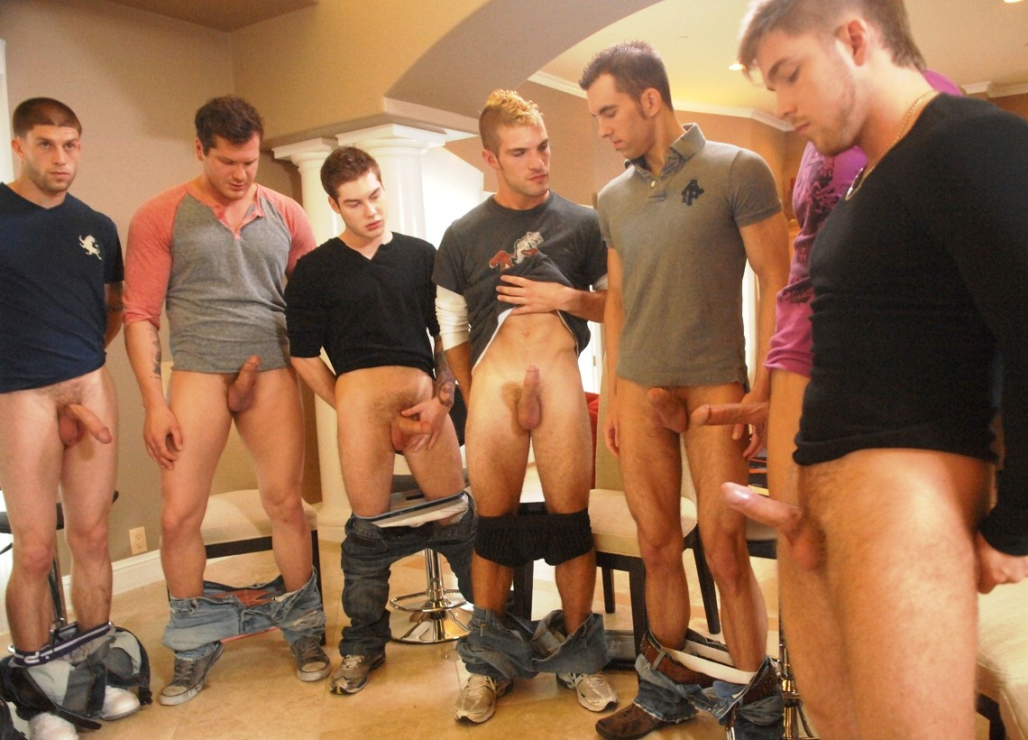 Circle jerk in high school locker room 1