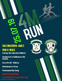 4 mile race nr Midleton - Thurs 25th July 2019