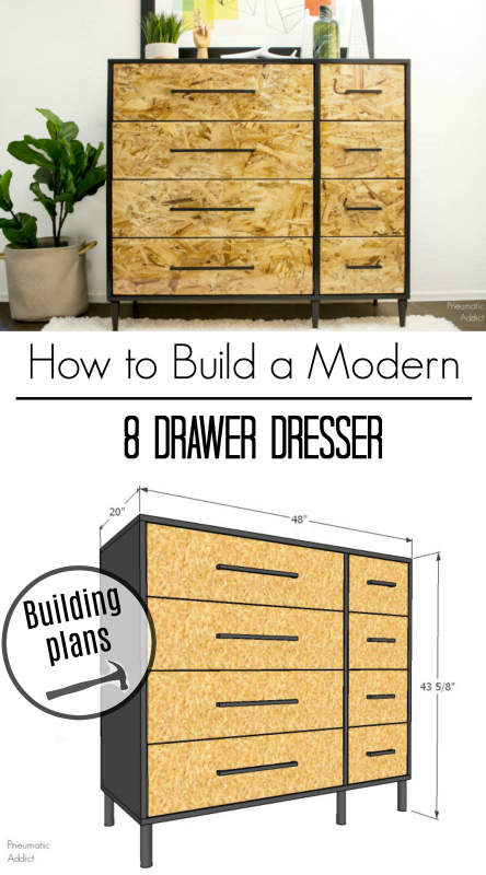 free building plans diy modern plywood dresser tutorial 8 drawer