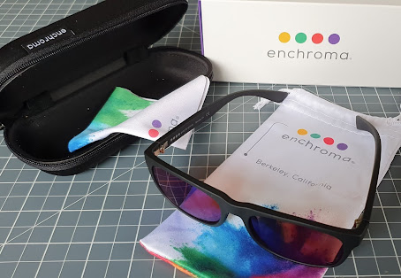Enchroma what you get in your package, laid out on the table. Glasses, hard zip up case, soft pouch, cleaning cloth, instructions