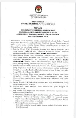 Pengumuman peserta lulus seleksi administrasi  CPNS KPU 2019