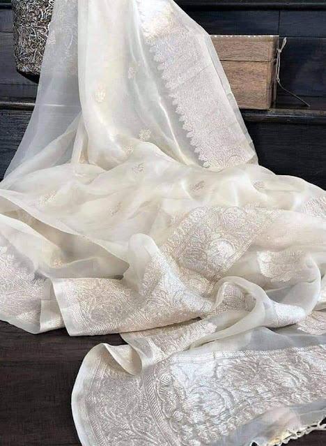 Pure Georgette Chiffon khaddi silver buti whites colour sarees