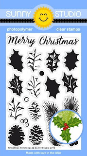 Sunny Studio Stamps: Christmas Trimmings Tree Branch, Layered Holly, Berries & Pinecone Stamps
