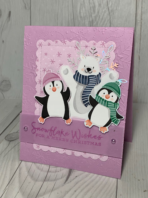 Christmas Card created from penguin and polar bear images in the Stampin' Up! Penguin Playmates Designer Series Paper