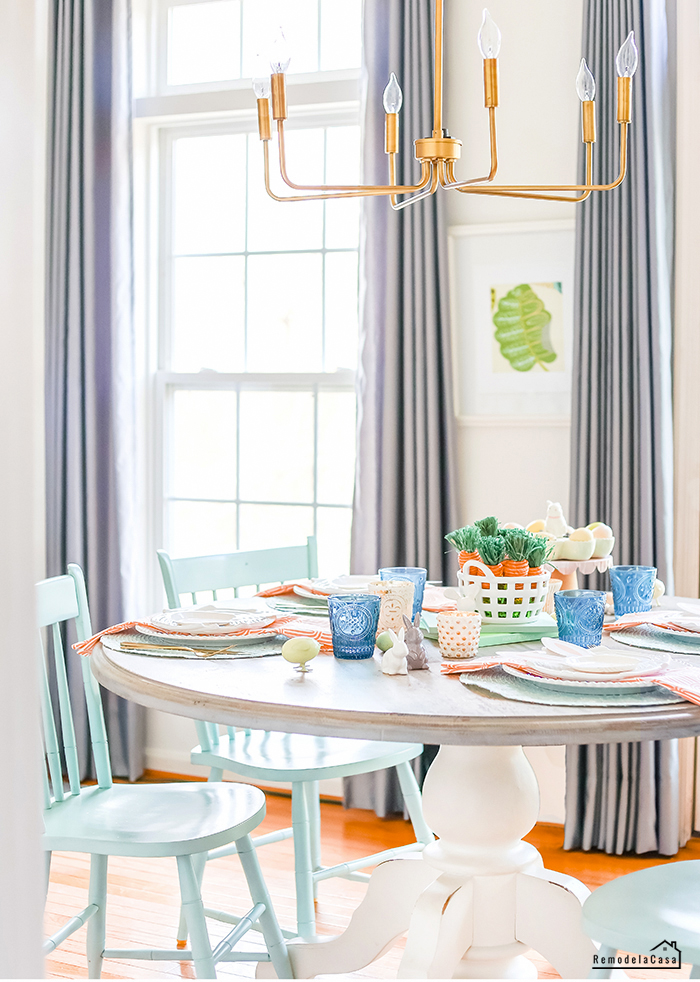 breakfast table with Easter tablescape