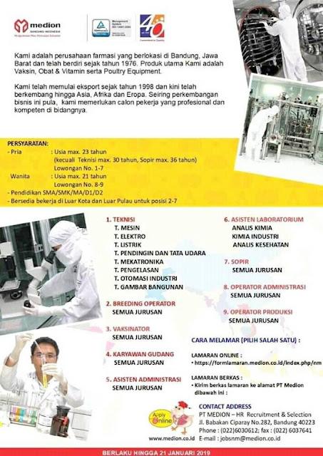 lowongan kerja teknisi PT Medion Bandung