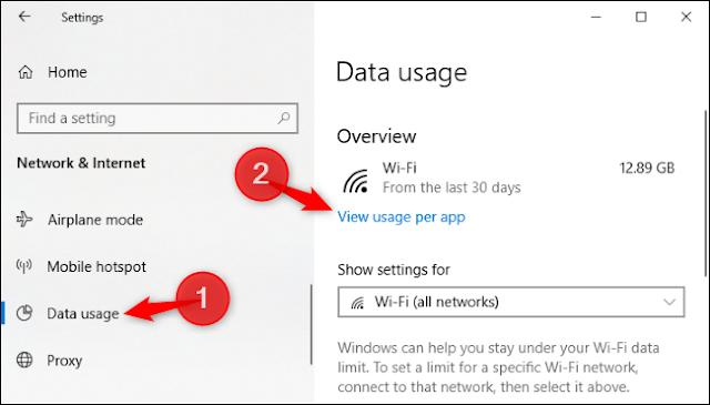 خيار لعرض استخدام البيانات لكل تطبيق في إعدادات Windows 10