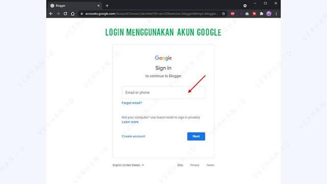 login menggunakan akun google