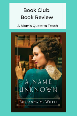 Text: Book Club: Book Review; A Mom's Quest to Teach; book cover of A Name Unknown