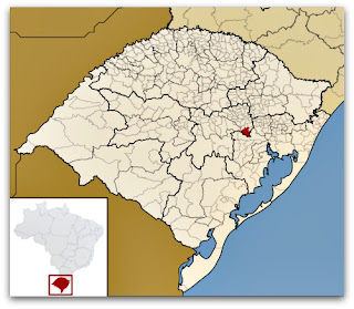 Cidade de Taquari, no mapa do Rio Grande do Sul