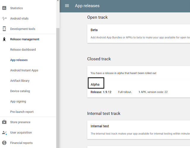 Alpha Testing in Google Play Console