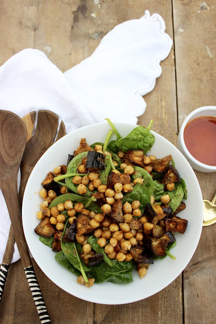 Moroccan aubergine and chickpea salad with harissa dressing