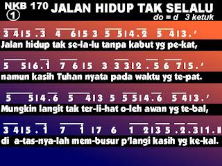Lirik dan Not NKB 170 Jalan Hidup Tak Selalu