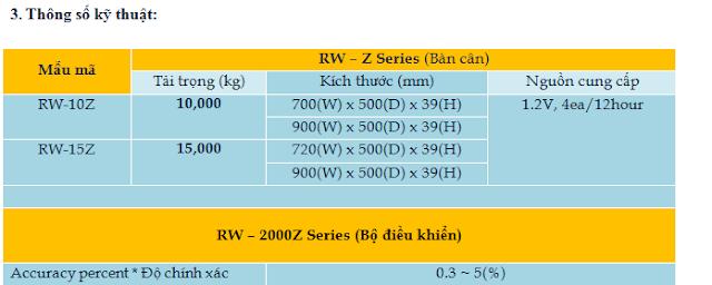 thông số kỹ thuật rw-20002Z đầu cân treo cas 0023