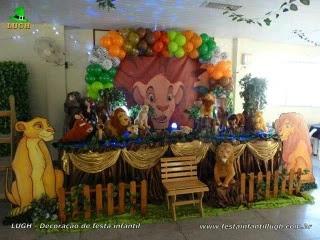 Decoração para mesa de aniversário Rei Leão - Festa infantil - Barra RJ