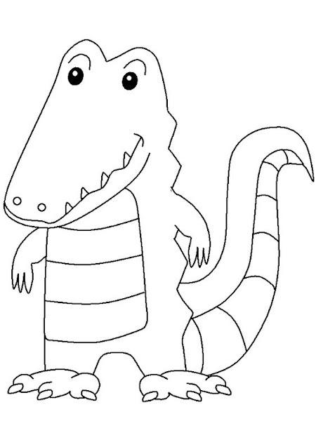 Tranh tô màu con cá sấu cu te