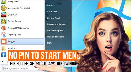 FIX: No Pin to Start Menu, pin folder, shortcut, anything Windows 7