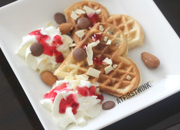 Valentine's day tip: heart-shaped chocolate chip waffles