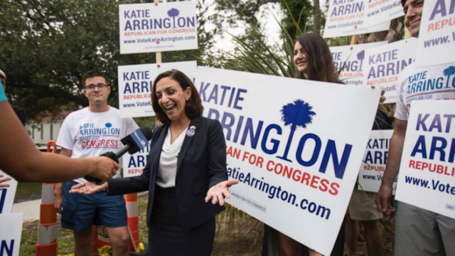 South Carolina Republican congressional nominee Katie Arrington, who defeated NeverTrump GOP Rep Mark Sanford in the primary, seriously injured in car accident