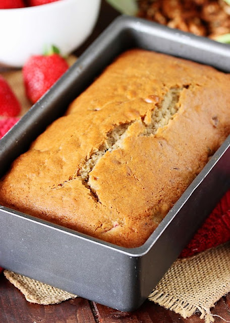Loaf of Fresh Strawberry Bread in Baking Pan Image