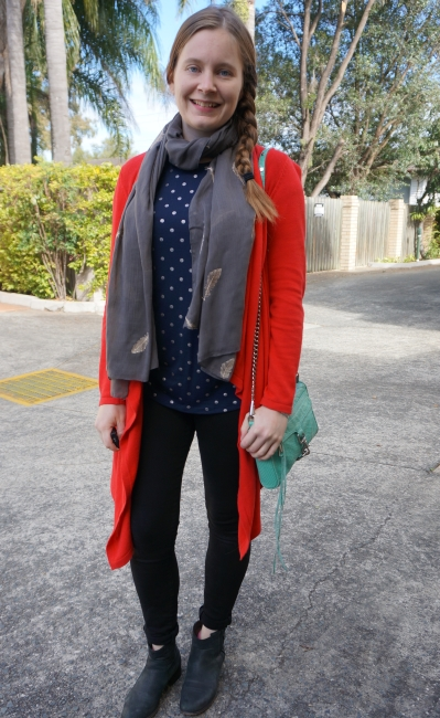 red cardigan, black jeans, ankle boots foil print tee, aqua mini MC SAHM Style | awayfromblue
