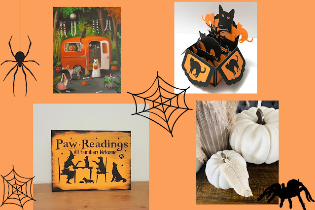 Halloween decor print, sign, card, and macrame. An artisan Halloween guide for pet lovers.