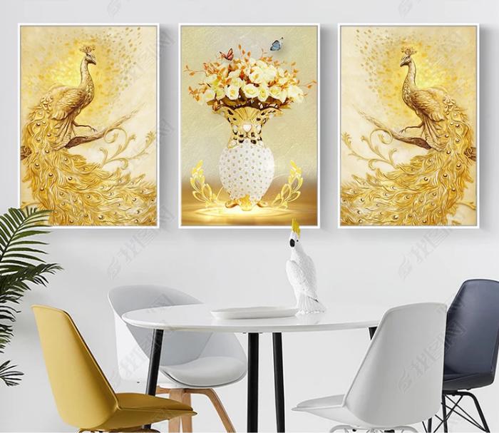 Tranh treo tường chim công vàng