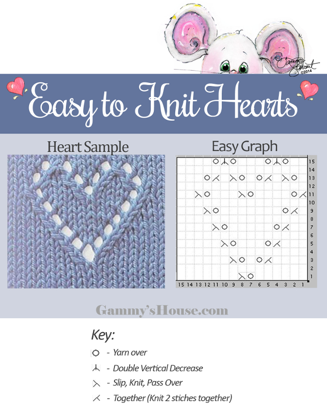 graph image knitted heart pattern
