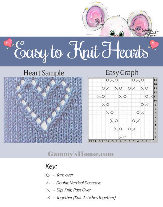 Free Easy Heart - Knitting Pattern and Step by Step illustrations